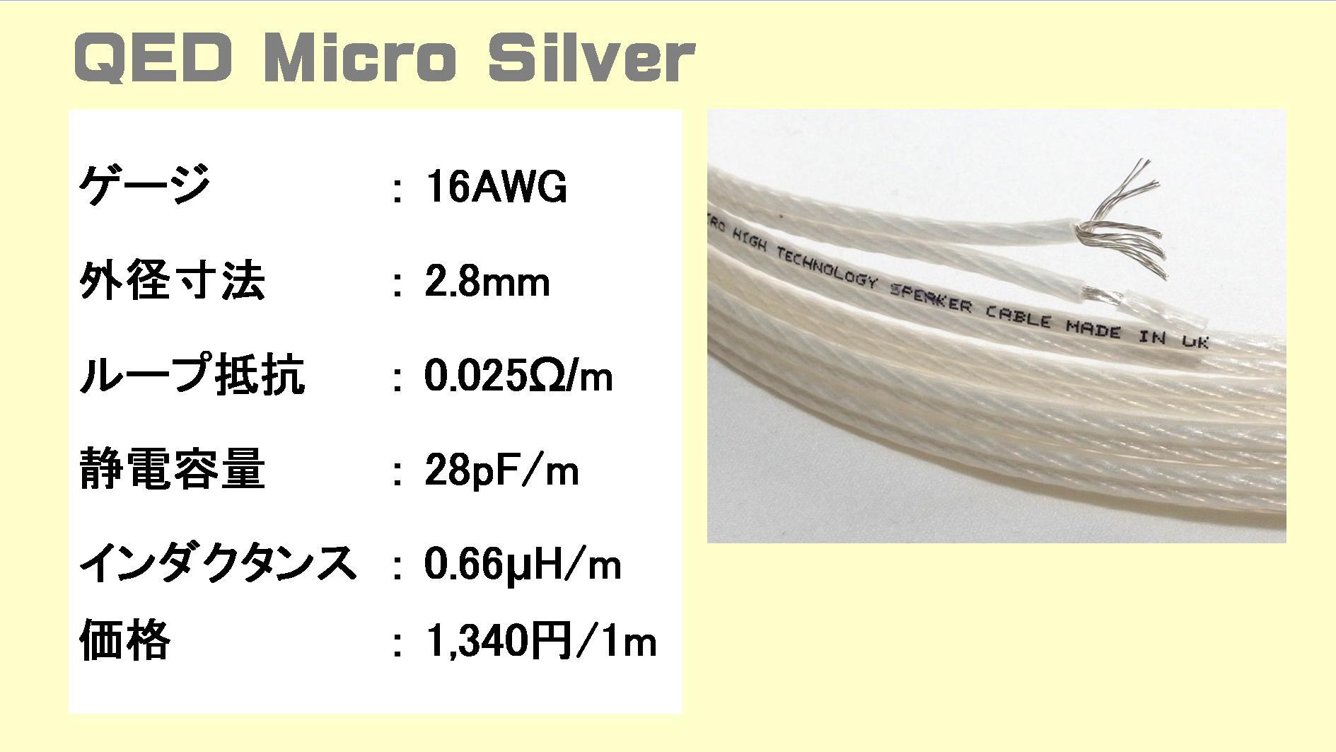 QED erformance-Micro-Silverの仕様表(スペック表)