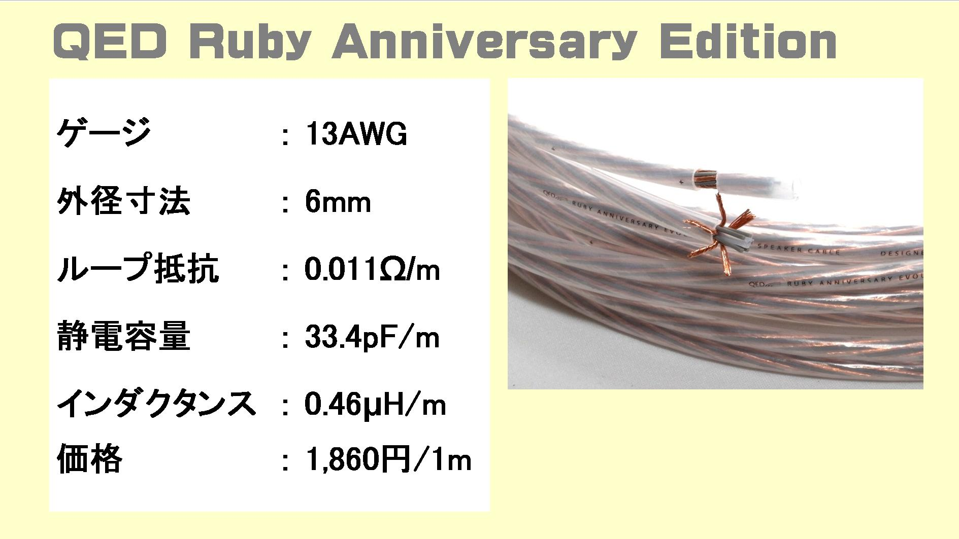 QED Performance-Ruby-Anniversary-Evolutionの仕様表(スペック表)